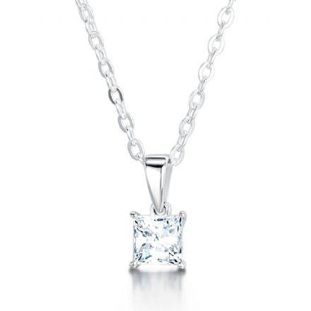 18ct White Gold  G, VS Diamond Lightweight 4 round claw pendant  princes cut diamond.